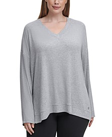Plus Size V-Neck High-Low Top