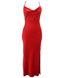 Fitted Cowlneck Crepe Gown