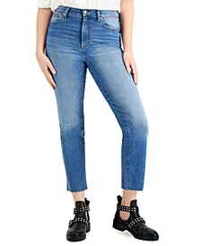 Juniors' High-Rise Raw-Hem Slim-Straight Jeans
