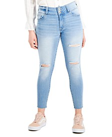 Juniors' High-Rise 3-Button Raw-Hem Distressed Skinny Jeans