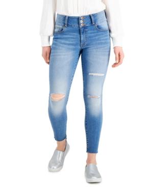 Mid Rise 3-Button Raw-Hem Distressed Skinny Jeans
