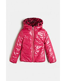 Big Girls Reversible Shiny Slick Look Quilted Nylon Puffer Jacket