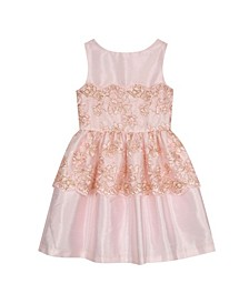 Big Girls Metallic Corded Lace Overlay Dress