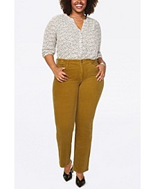 Plus Size Marilyn Straight Leg Double Snap Waistband Corduroy Jeans