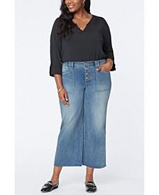Plus Size Utility Detail Wide Leg Ankle Jeans