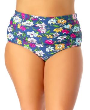 Plus Size Shirred High Waist Bikini Bottoms Women's Swimsuit