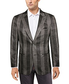 Men's Slim-Fit Gray/Black Metallic Plaid Sport Coat