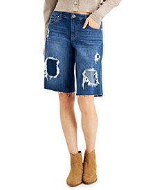 INC Patchwork Bermuda Jean Shorts, Created for Macy's