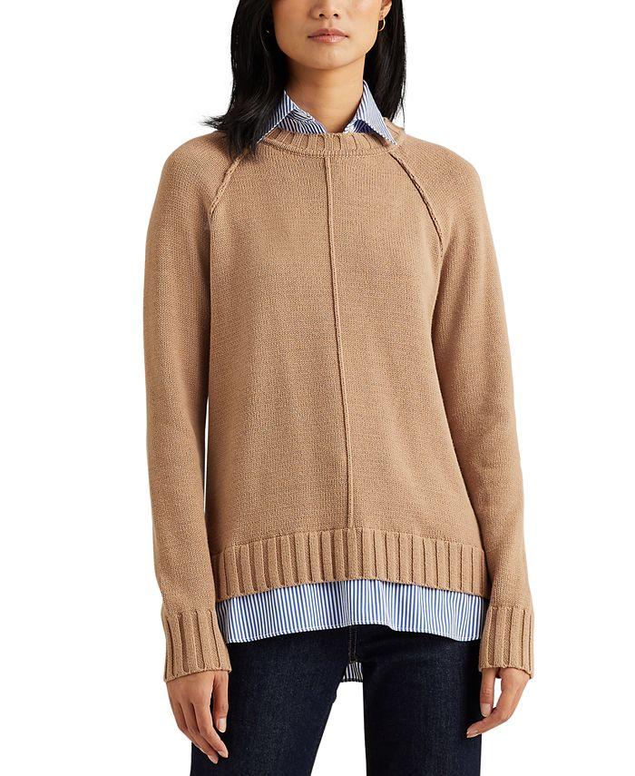 Lauren Ralph Lauren - Plus-Size Layered Cotton Sweater