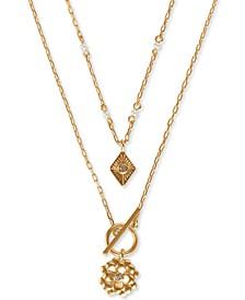 Gold-Tone 2-Pc. Set Pavé & Imitation Pearl Flower Pendant Necklaces