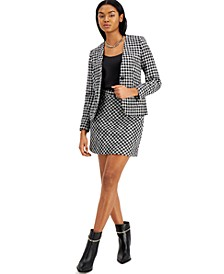 Houndstooth Single-Button Jacket, Scoop-Neck Camisole & Belted Skirt, Created for Macy's