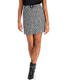 Houndstooth Belted Skirt, Created for Macy's