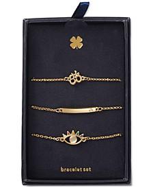 Gold-Tone 3-Pc. Set Crystal Spiritual Symbol Link Bracelets