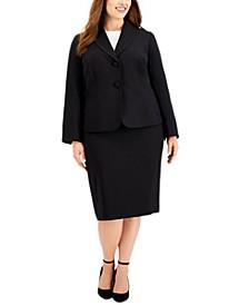 Plus Size Shawl-Collar Skirt Suit