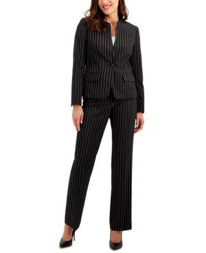 Pinstriped Single-Button Pants Suit