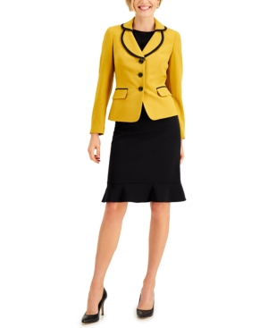 Flounce-Hem Skirt Suit