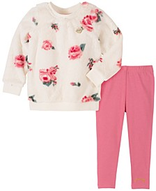 Little Girls White Floral Print Top and Legging Set