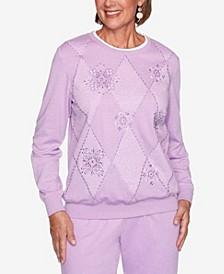 Women's Missy Long Weekend Diamond Spliced Medallions Sweatshirt