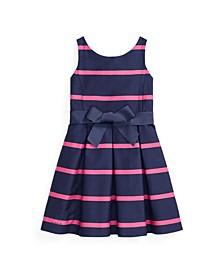 Little Girls Striped Sateen Dress