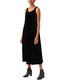 Velvet Crewneck Dress and Open-Front Cardigan