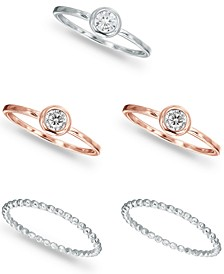 5-Pc. Set Cubic Zirconia Stack Rings in Sterling Silver & 18k Rose Gold-Plate, Created for Macy's