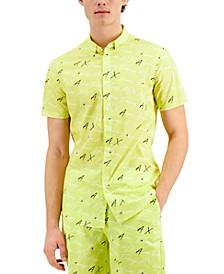 Short Sleeve Fluorescent All-over Logo Script Shirt, Created for Macy's