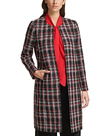 Collarless Plaid Topper Jacket