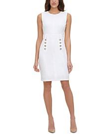 Petite Scuba-Crepe Button-Front Sheath Dress