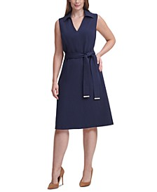 Plus Size Collar V-Neck Fit & Flare Dress