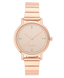 Women's Crystal Accented Rose Gold-Tone Bracelet Watch, 35mm