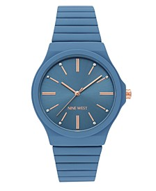 Women's Blue Rubberized Bracelet Watch, 37.5mm