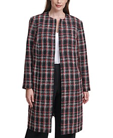 Plus Size Collarless Plaid Topper Jacket