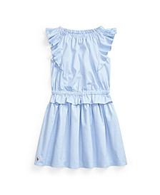 Little Girls Ruffled Oxford Dress
