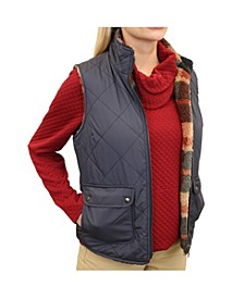 Women's Diamond Quilted Reversible Vest to Plaid Sherpa