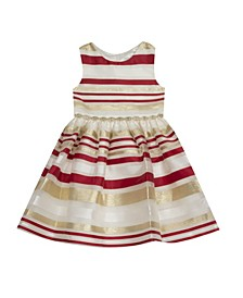 Toddler Girl Burnout Organza Stripe Fit And Flare Dress