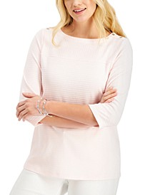 Textured Button-Shoulder Top, Created for Macy's