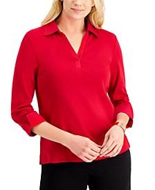 3/4-Sleeve Johnny Collar Top, Created for Macy's