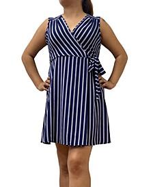 Petite Striped Faux-Wrap Dress
