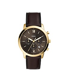 Men's Neutra Brown Leather Strap Watch 44mm