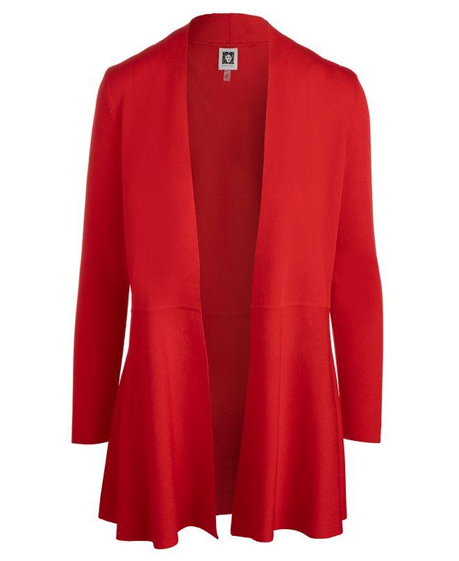 Anne Klein Plus Size Monterey Open-Front Cardigan Sweater
