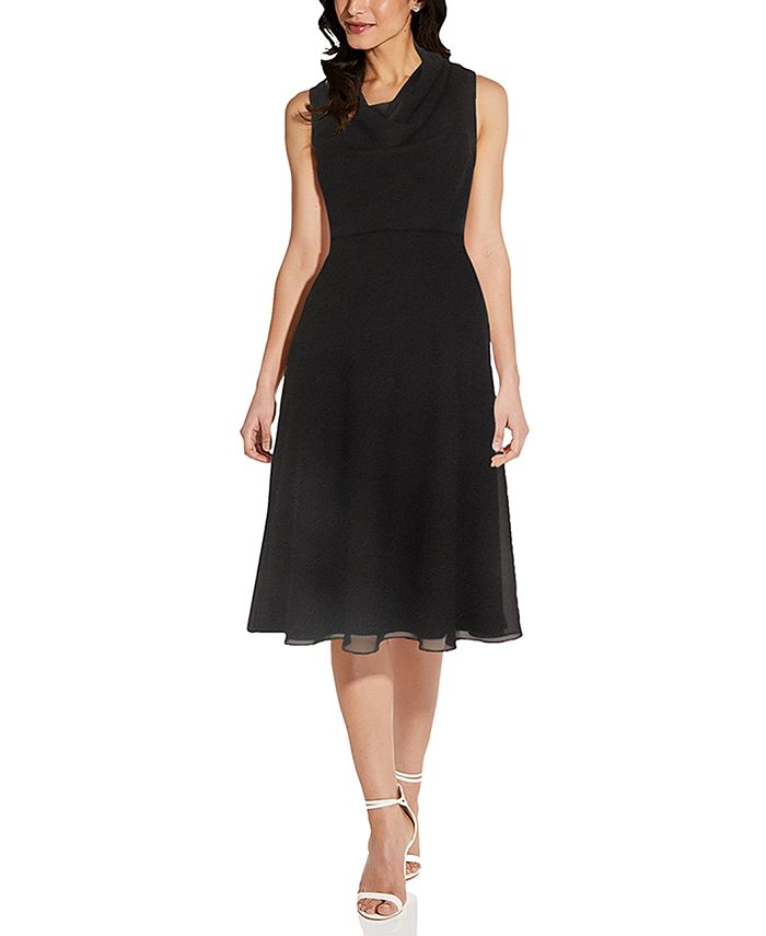 Adrianna Papell - Cowlneck A-Line Dress