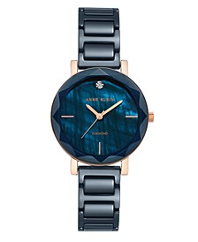 Women's Navy Ceramic and Mixed Metal Bracelet Watch 32mm