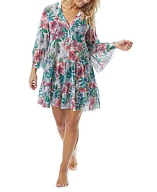 Floral-Print Cover-Up Dress