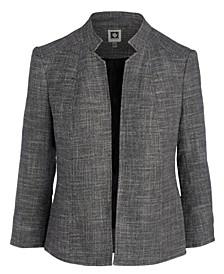 Stand-Collar Tweed Blazer