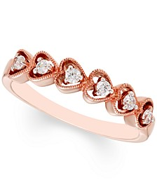 Diamond Heart Band (1/8 ct. t.w.) in 10K Rose Gold