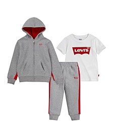 Little Boys T-shirt, Pant and Zip Hoodie Set