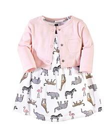 Baby Girls 2 Piece Cotton Dress and Cardigan Set