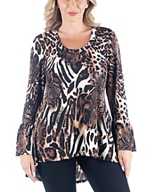 Women's Plus Size Animal Print Tunic Top