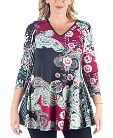 Women's Plus Size Paisley Print Flared Tunic Top
