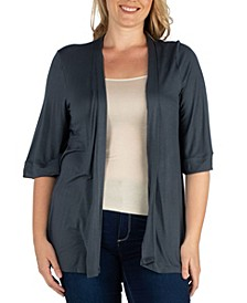 Women's Plus Size Open Front Cardigan